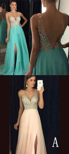 Charming Prom Dress,Sexy V Neckline Prom Dress with Slit,Formal Evening Dress,Women Dress,Graduation Dresses,Formal Dress For Teens ,prom dresses,prom dress