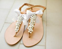 Greek leather sandals- Wedding sandals-Leather sandals decorated with white pearls and satin bow - White women flats- Bridesmaid sandals