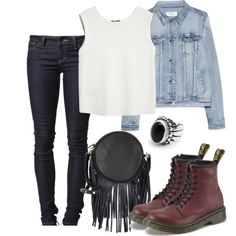 Damon inspired outfit with oversized denim jacket and red doc martens by kit-kat227 on Polyvore featuring MANGO and Deux Lux
