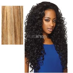 Quick Weave Amber 26 - Color S27/30/613 - Synthetic (Curling Iron Safe) Half Wig