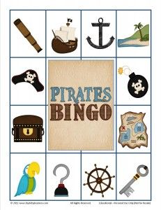 pirate bingo- game for Jack's party Pirate Preschool, Pirate Activities, Pirate Games, Preschool Themes, Preschool Art, Fun Activities, Jack Le Pirate, Pirate Day, Pirate Birthday