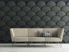 Acoustic wall panels in various colors for modular wall design -