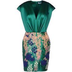 Blumarine Short Dress ($1,819) ❤ liked on Polyvore featuring dresses, vestidos, short dresses, green, v neck cocktail dress, mini dress, green dress, short sleeve cocktail dress and green cocktail dress