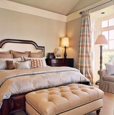 Master traditional bedroom upholstered wood panel bed