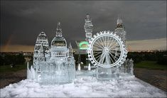 London Ice Sculpture  -  Artist Percy Salazar created the piece to promote Chinese Harbin Lager for the Taste of London Food Festival.  Spectacular ice sculptures are a celebrated tradition in Harbin, China.    The ice art was seen at the festival between Thursday June 19 and Sunday June 22.