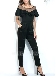 207575bc057  US  46.99  Polyester Tulle With Stitching Maxi Jumpsuits Ruffle Jumpsuit
