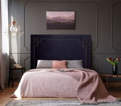It can be a little daunting to paint a room a dark colour but the end result can be amazing! Who wouldn't wake up rested in this dreamy room? Dark Walls, Beds Online, Room Paint, Home Staging, Color Trends, Luxury Bedding, Color Inspiration, Interior Design, Bedroom