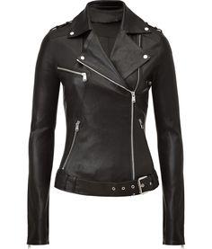 JITROIS  Black Leather Biker Jacket