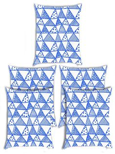 Giftwallas Triangle Design Cushion Cover Set Of 5 Blue Colour