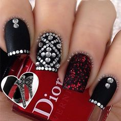 Ladies' nails have always been an important dimension of beauty and fashion. Discover top 55 fasionable red and black nails designs. Get Nails, Fancy Nails, Love Nails, How To Do Nails, Hair And Nails, Shiny Nails, Silver Nails, Nail Art Designs, Acrylic Nail Designs