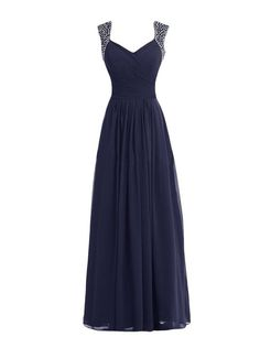 Tidetell V-neck Bridesmaid Chiffon Prom Dresses Long Evening Gowns Navy Size 2