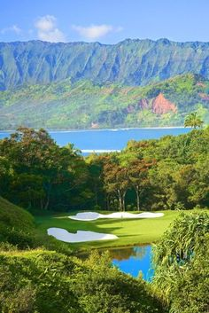 Makai Golf Course, Princeville at Hanalei, Kaui, Hawaii. #golf #kauai #hawaii Stayed There.. Truly Amazing. Shop for the best in Golf Push Carts and More at http://bestgolfpushcarts.net/product-category/golf-push-carts/clicgear/