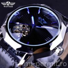 Blue Ocean Geometry Design Transparent Skeleton Dial Men's Watch Top Brand Luxury Automatic Fashion Mechanical Watch Clock Overview: Brand Name: VNCY'S Item Type: Mechanical Wristwatches Band Width: Band Material Type: Leather Case Shape: Irr Rolex Submariner, Mechanical Clock, Mechanical Design, Skeleton Watches, Swiss Army Watches, Automatic Watch, Luxury Watches, Watch Bands, Business Casual