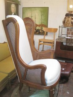 Pair Of 1960s High Back Wooden Chairs With Low Seat And Caned Sides