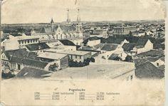 Vista geral de Curitiba em 1900, com dados de progressão populacional.