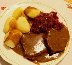 Omas rheinischer Sauerbraten German Meal – Omas Rhenish Sauerbraten (recipe with picture) of coffee bean Potato Recipes, Pork Recipes, Healthy Recipes, Carne Asada, Saurbraten Recipe, Benefits Of Potatoes, Spiced Beef, Polish Recipes, Ground Beef Recipes