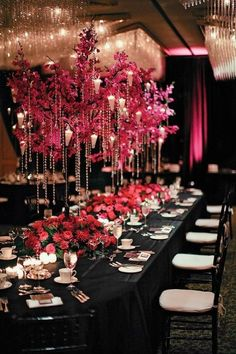 beautiful hanging crystal centerpieces ABOVE the table so everyone can see each other!