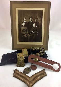 Coldstream Guards WW1 Corporals Items - Dog Tags, Buttons Photograph & Stripes
