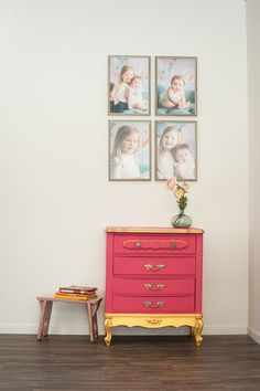 Gold dipped dresser with bright pink mix of Chalk Paint® - great for a little girl's room!