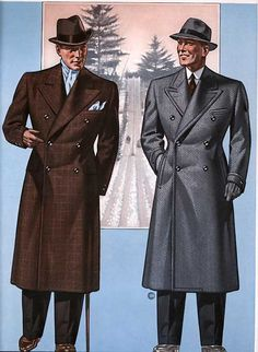 Pea coats are fine for sailors and veterans of the Naval Service, but men about town should invest in proper overcoats. Double breasted coats are recommended.
