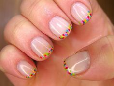 Colorful French Manicure nail art by Agnieszka