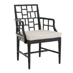 Chinese Chippendale Chair - black or white. Could have a slipcover made for the cushion in a new fabric.