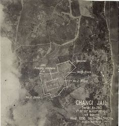 Aerial photo of the Changi Jail, Singapore. The British stronghold in the Far East and British Malaysia fell on 15 Feb 1942