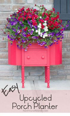 Quick and easy porch planter upcycled from an old Martha Washington sewing cabinet.