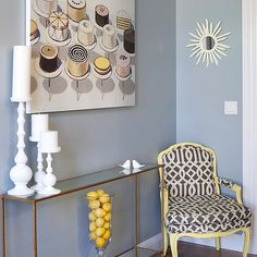 Like the wall colour Brass and Glass Console Table