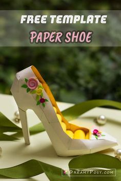 Free template for paper high heel, a 3D paper shoem #papershoe #paperhighheel #freetemplate