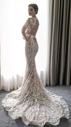 Sheer Embroidered Long Sleeve Wedding Dress