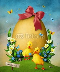 Zdjęcia na płótnie, fototapety, obrazy : Big Easter egg with flowers and two small duckling