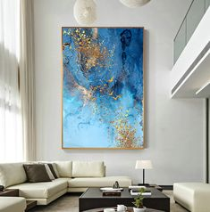 Golden Blue Sea Wall Art Fine Art Canvas Print Modern Abstract Marble Design Picture For Office Interior Living Room Luxury Art Decor – Office Room Abstract Canvas Art, Canvas Art Prints, Abstract Art Blue, Blue Canvas, Diy Canvas, Painting Abstract, Big Wall Art, Wall Art Decor, Living Room Pictures