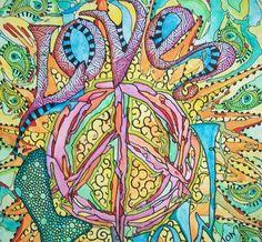 Love Now, Singleton Hippie Art Original. $135.00, via Etsy.