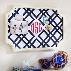 Scallop Framed Monogram Pinboard, Ribbon Geo, Navy #pbteen