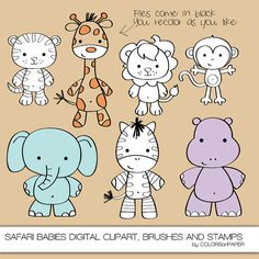 Safari Babies Digital Clipart. Photoshop Brushes by ColorsonPaper, $4.00