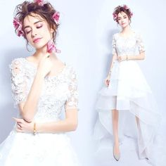 Sweet lace flower perspective before the short delay Trailing bride wedding dress $119   => Save up to 60% and Free Shipping => Order Now! #fashion #woman #shop #diy  http://www.weddress.net/product/sweet-lace-flower-perspective-before-the-short-delay-trailing-bride-wedding-dress