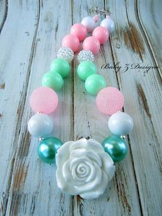 Mint Bubblegum Easter Chunky Necklace  For Toddlers, Girls, or Teens by babyzdesigns on Etsy, $20.00