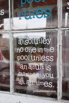 Pool Rules Sign. Made from an old window.