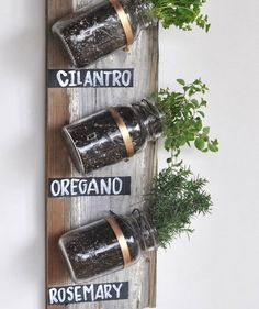 There's nothing like fresh herbs to take your cooking to the next level. Hang this piece on your kitchen wall (where there's enough light) for easy access. Take a piece of recycled wood and attach the potted mason jars with pipe clamps. Label each herb with chalkboard paint and chalk.