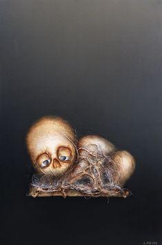 L'abandon © Laurent Fièvre Canvas - (acrylic, rope, fabric, silk paper) - 81 x 54 cm - 07/11/2014