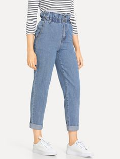 Rolled Hem Frill High Waist Jeans Jeans Casual, Rolled Jeans, All Jeans, Rolled Hem, Jeans Style, Jeans Dress, Women's Pants, Jeans Leggings, Blue Jeans