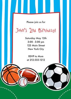 Sports Themed Birthday Invitation Sports by CrowningDetails, $10.95
