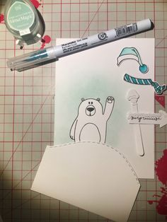 "Cathygel: Tampons et matrices de coupe (dies) #4enSCRAP ""Happy New Bear"""