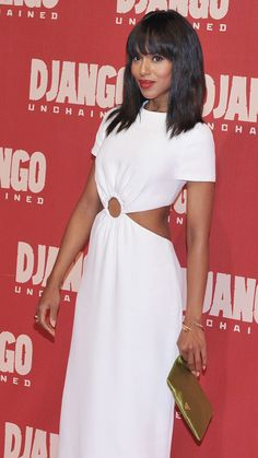 Kerry Washington- simple yet stunning in white Prada cutout dress, Jimmy Choo reptile pointy toes to add a bit of edge, but still keep things classic and simple.