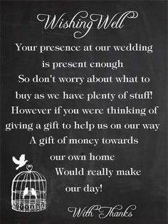Asking for Money Instead Of Wedding Gifts 5 Ways to ask for Money Instead Of A T Plan A Wedding 50 Small Wedding Gift Poem Cards asking for Money Cash Groupon asking for Zip Code Wishing Well Poems, Wishing Well Wedding, Wedding Gift Poem, Wedding Gifts, Wedding Stuff, Monetary Gift Wording Wedding, Wedding Wishes, Wedding Invitation Wording, Wedding Stationary