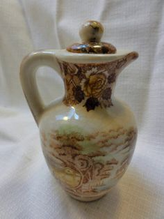 Vintage Miniature Decorative Ceramic Pitcher With Lid - Cabin by the Lake