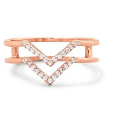 """Double Row """"V"""" Design Ring Rose gold plated, sterling silver double row CZ """"V"""" design ring. Each row is approximately 1.2mm. The ring is 5mm wide. The back of the ring has two 2mm X 5mm polished bars that join the bands together.  The ring is available in whole sizes 5-10.  .925 STERLING SILVER OJ Designs Jewelry Rings"""