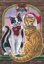 Mistletoe Cats Christmas House Flag Winter Holiday Kitty Santa Hat X Christmas Banners, Christmas Scenes, Christmas Animals, Christmas Cats, Christmas Pictures, Vintage Christmas, Xmas, Gatos Cat, Gato Anime
