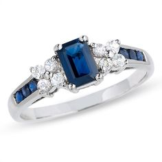 Blue and White Sapphire Ring in 14K White Gold - Zales